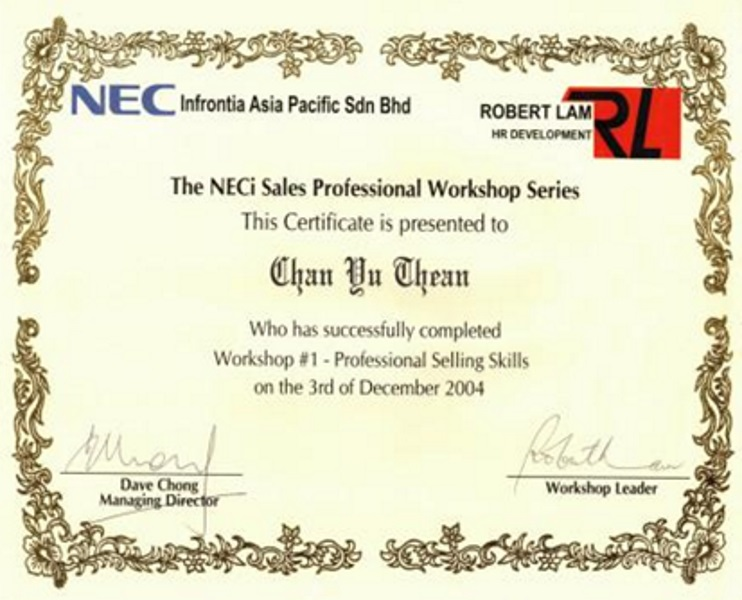 NEC Certificate of NECi Sales Professional Workshop Series (2004)