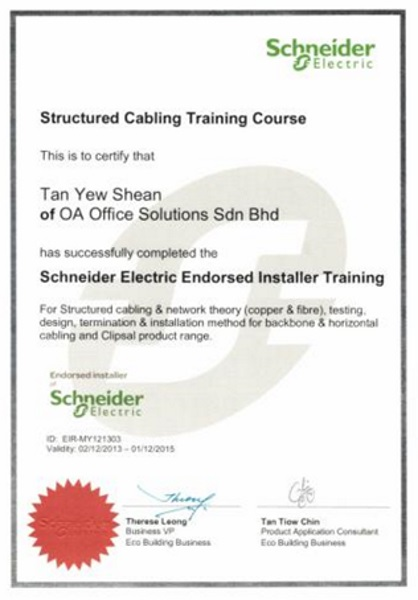 Certificate of Schneider Electric Training (2013 - 2015)
