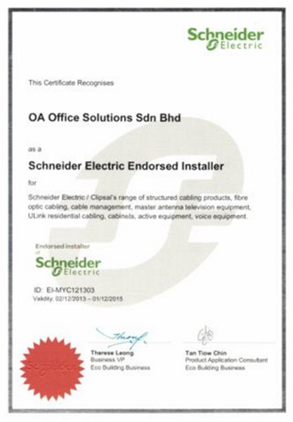 Certificate of Schneider Electric Endorsed Installer (2013 - 2015)