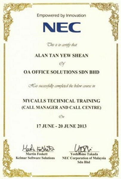 NEC Certificate of Mycalls Technical Training (2013)